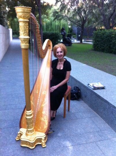 Harpist performing outside