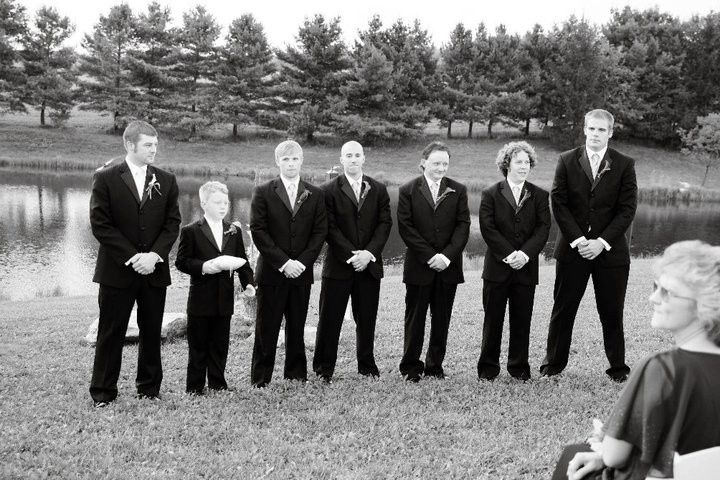 Groom with his groomsmen and ring bearer