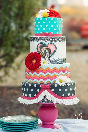 Rockabilly style wedding cake