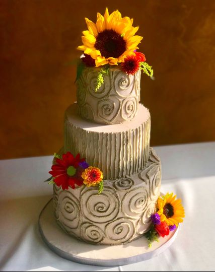 Twisted taupe wedding cake
