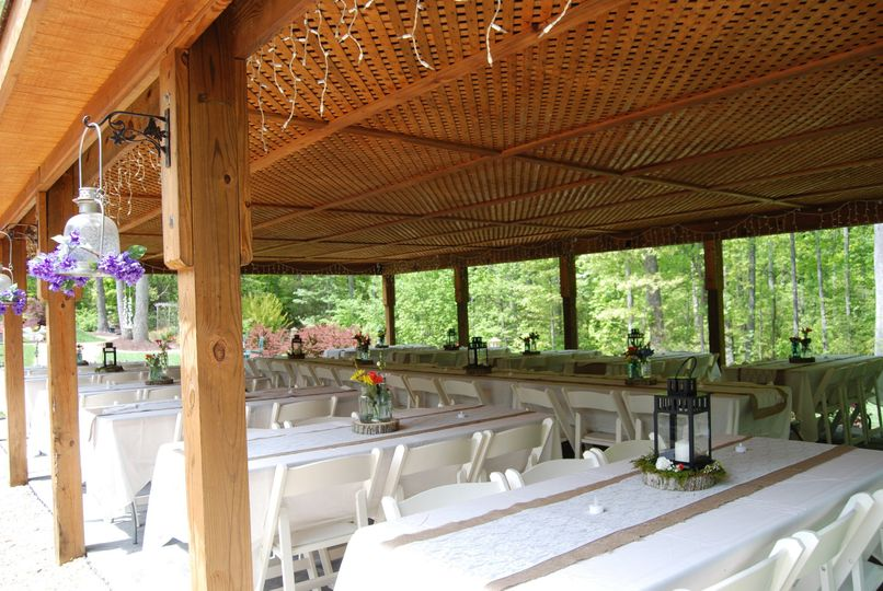 Party pavilion set up with tables and chairs for your decorating theme