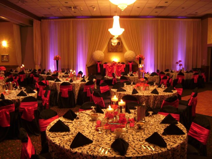 Black and red themed reception