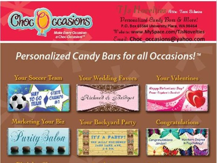 Tmx 1276970997653 2010ChocOccasionsFlyerMySpace Tacoma wedding favor