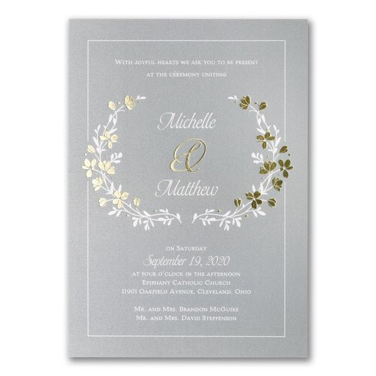 Gold and silver foil on a silver card