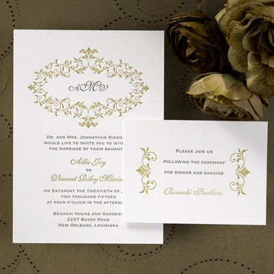 Beautiful monogram sets off this invitation