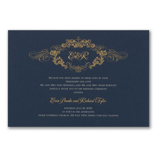 Gold foil on navy card