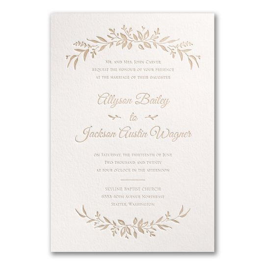 Lovely leaves arch the top and bottom of this invitation