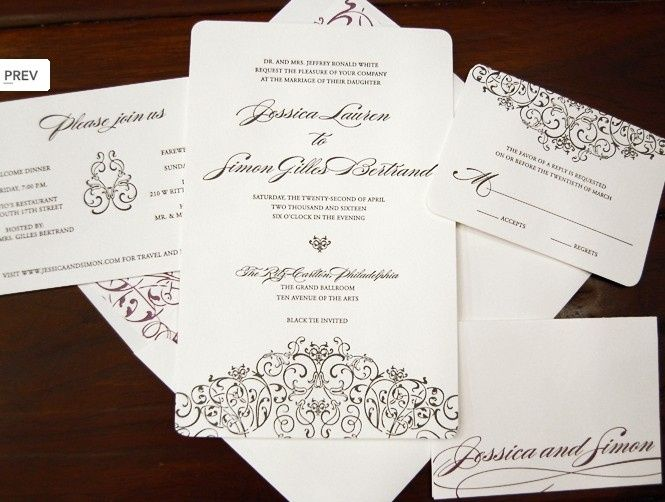 Arched design at bottom of invitation and top of rsvp card