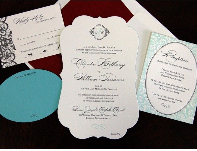 Special shape on the invitation and special design on the enclosures