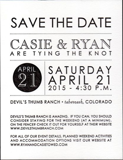 Letterpress save the date with modern formatting