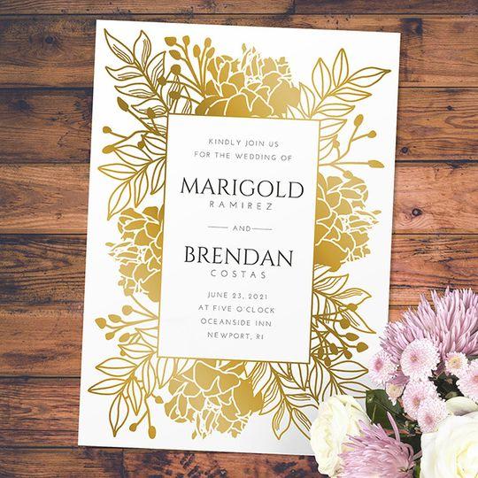 Gold foil floral border