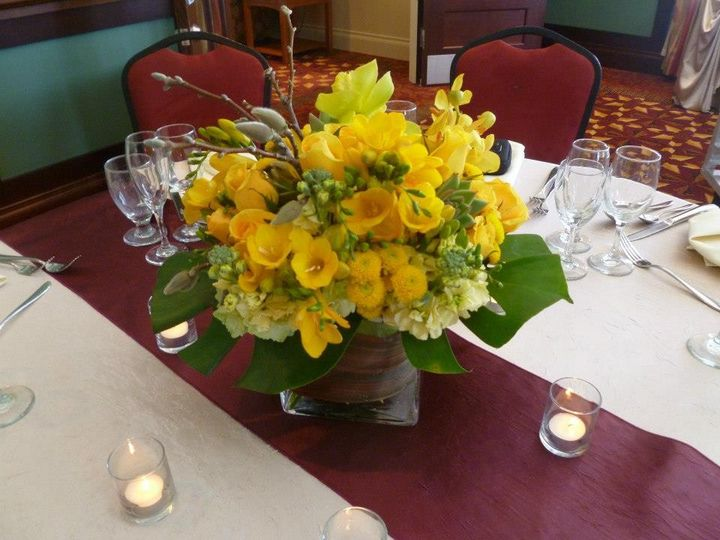 Yellow flowers on the table