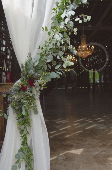 White drape with flowers