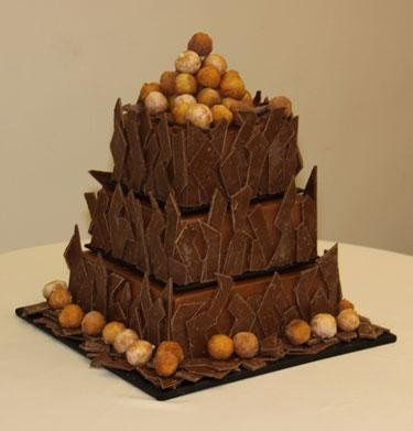 Grooms Cake Chocolate inside with Chocolate Buttercream Icing And 8 Lbs of Hand Cut Chocolate with...