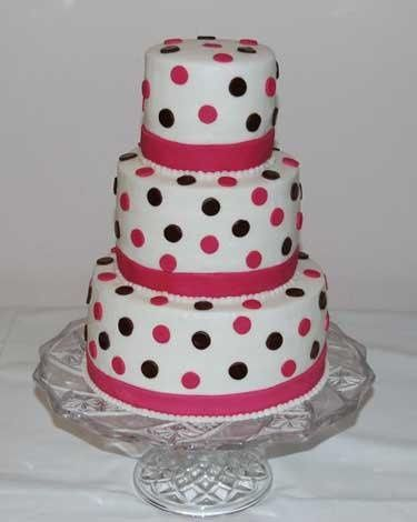 3 Tier Yellow Cake with White Buttercream Icing. Pink Bands and Black & Pink Dots
