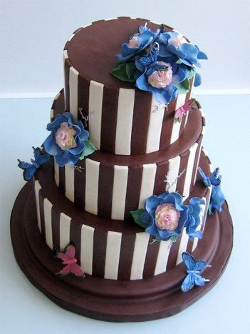 Chocolate fondant iced cake with hand-crafted sugar flowers and butterflies