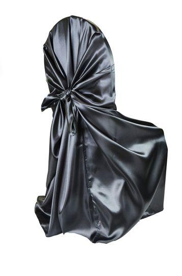 black satin self tie chair cover