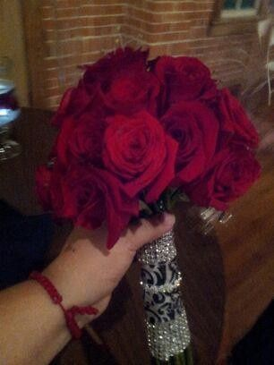 bridal bouquet red rose bling