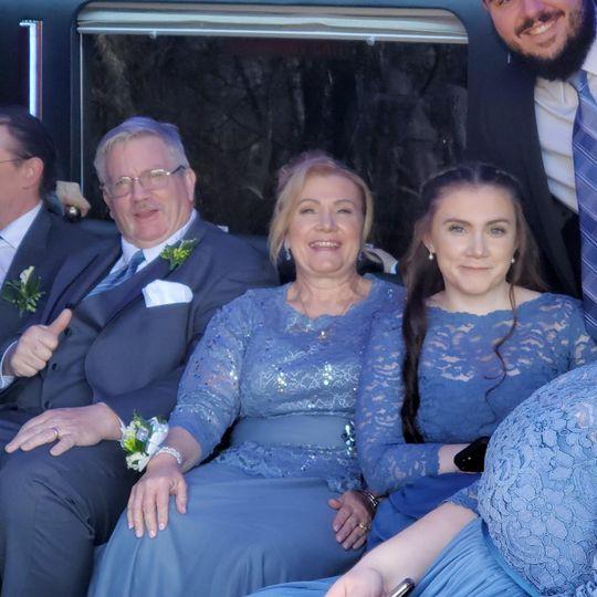 Bridal Party in Limo Van