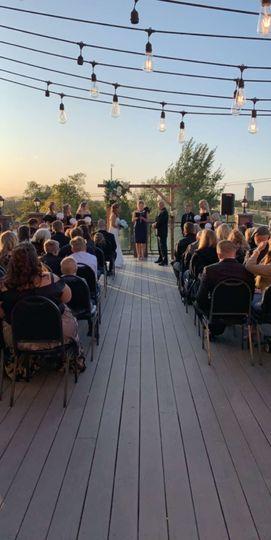Ceremony on rooftop patio