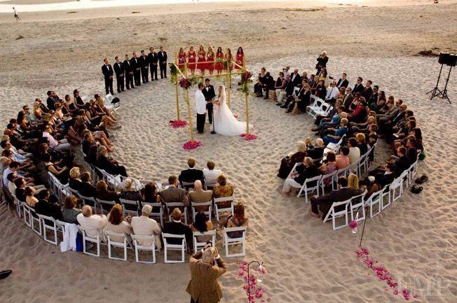 Circular setup on a beach wedding