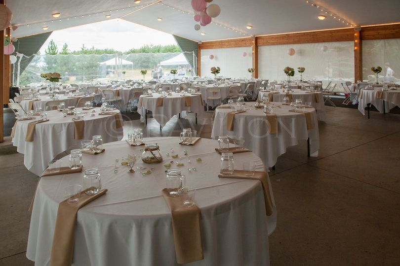 The Pavilion is 42' x 60' with lots of room for your reception. Tables, chairs, table linens, set...