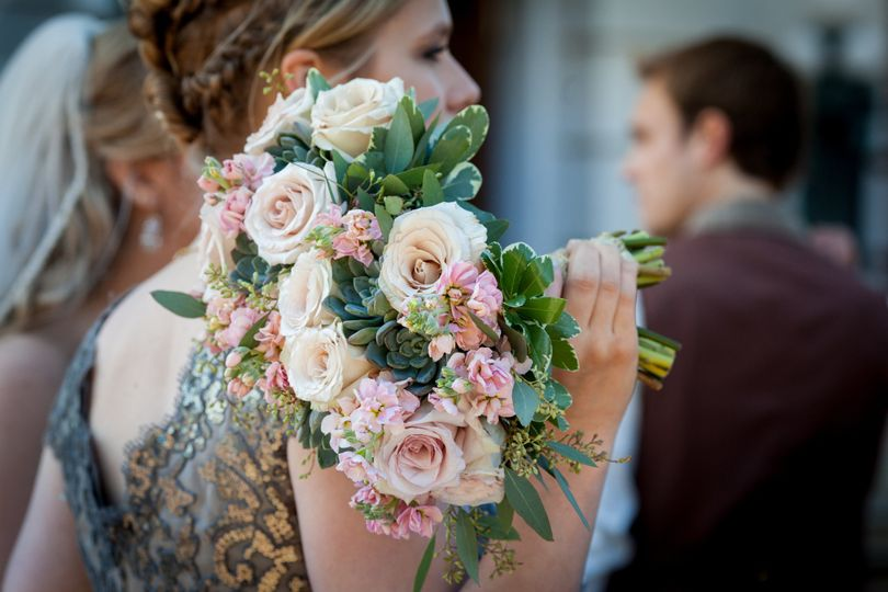 Hand-tied bouquet of garden roses... so pretty in pictures.