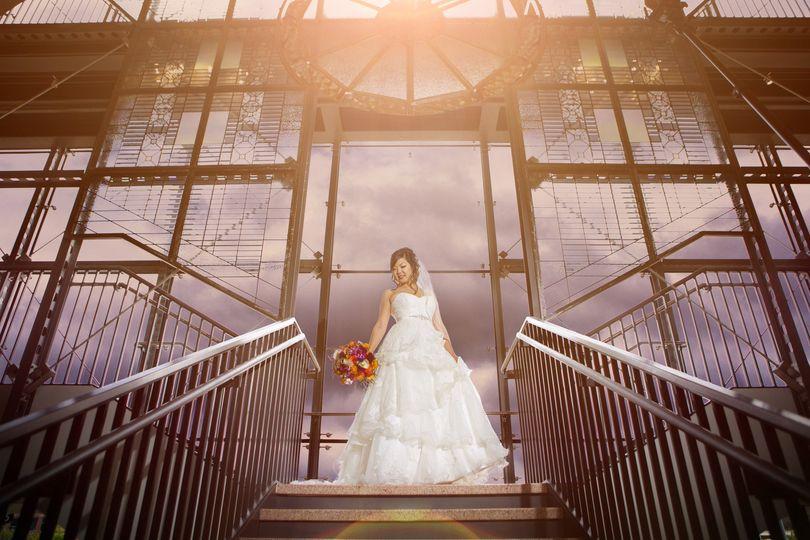 wedding bridal portrait train station