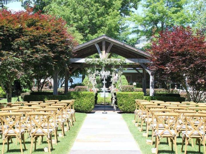 Wedding ceremony at Bykenhulle House B&B facing gazebo.