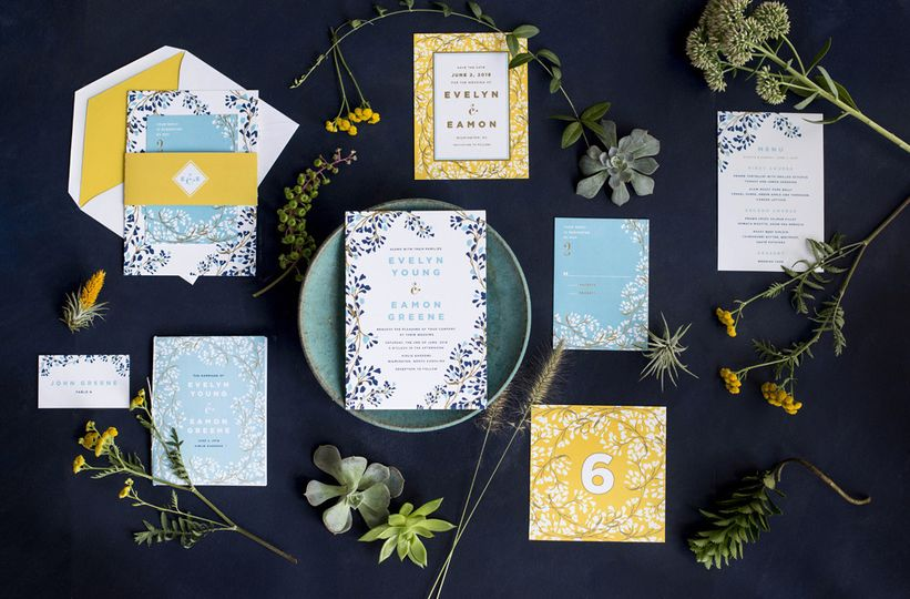 Hello Tenfold's vine wedding suite features modern fonts with romantic, swirling vines and bright...