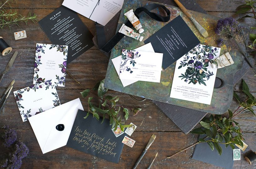 Hello Tenfold's Flora invitations are darkly romantic and modern, without being too trendy. Choose...