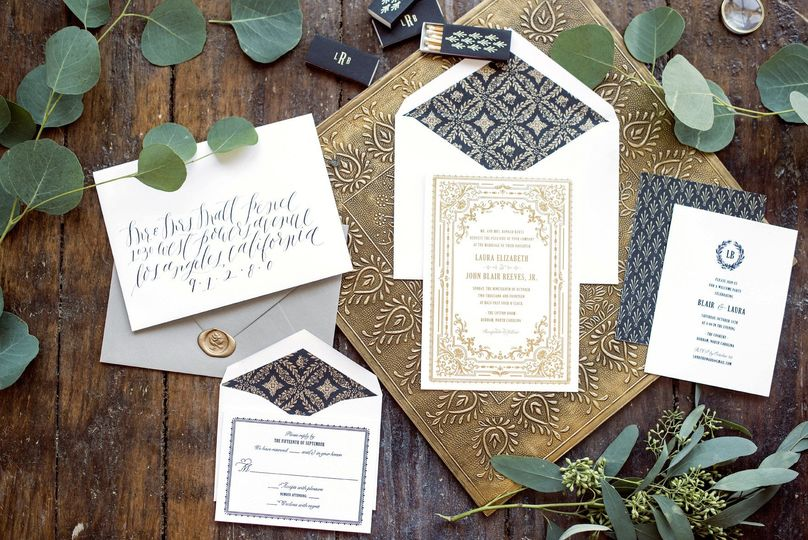 Hello Tenfold's Florentine wedding invitation suite features vintage-inspired frames, patterns, and...