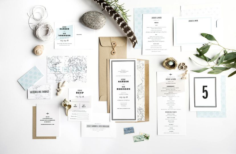 Hello Tenfold's Gazette wedding invitation suite is perfect for modern destination weddings. The...