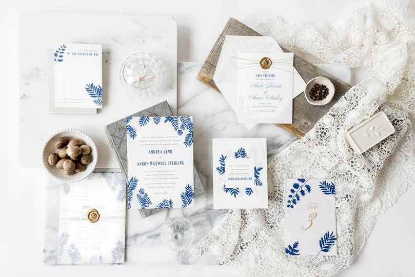 Hello Tenfold's Fern wedding invitations feature modern, botanical silhouettes and an unexpected...