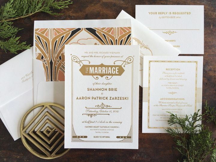Hello Tenfold's Gatsby wedding invitation set is unique and art deco inspired! Choose from one of...