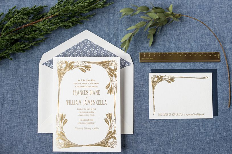 Hello Tenfold's Nora wedding invitation suite features art nouveau style flowers and vintage...