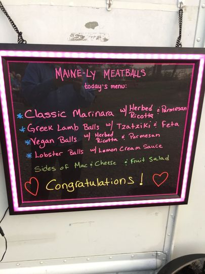 Maine-Ly Meatballs Food Truck Menu Wedding Recp. Food
