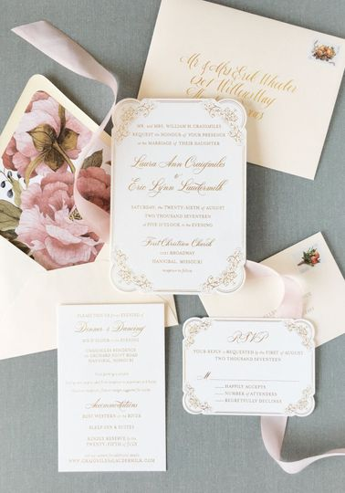 Gold foil invitation with die cut and floral envelope liner
