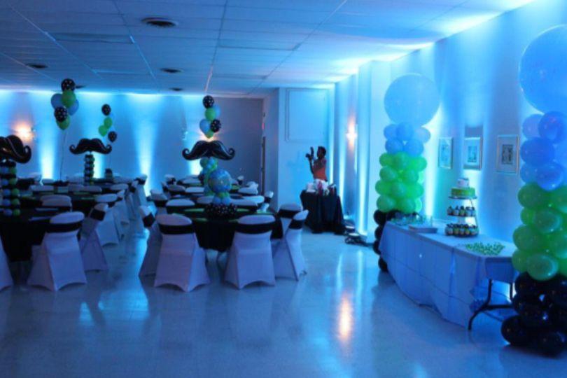 Reception hall uplighting