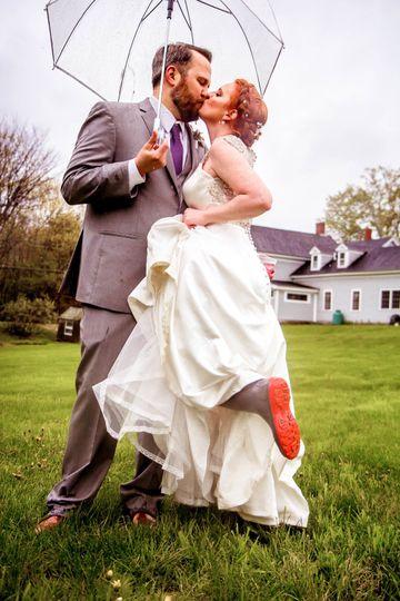 The Barn wedding in rainboots