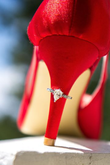Wedding ring around heel of shoe