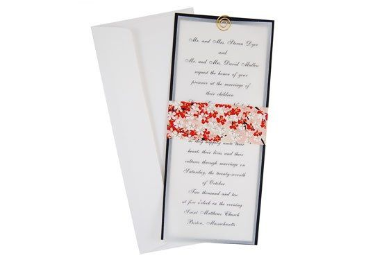 An elegant slim invitation featuring a colored vellum overlay, textured backing card and decorative...