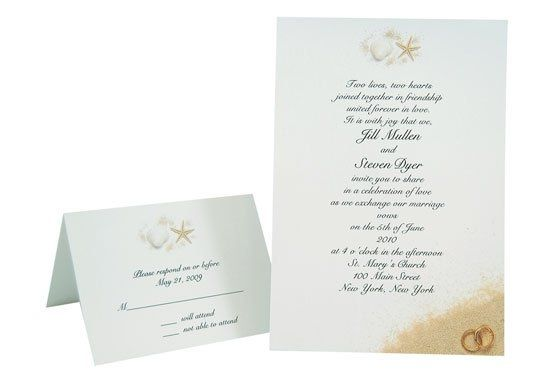 This elegant radiant white card makes a striking invitation for a beach wedding or other seaside...
