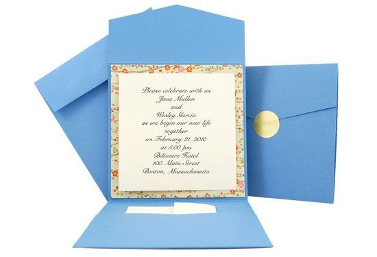 Our Blue Bouquet Pocket Fold Invitation Kit is an elegant one of a kind wrap for our square cards....