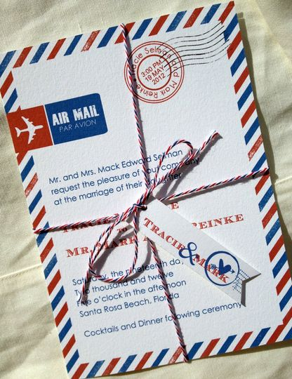 Airmail!  The bride and groom fell in love while writing good old-fashioned love letters and wanted...