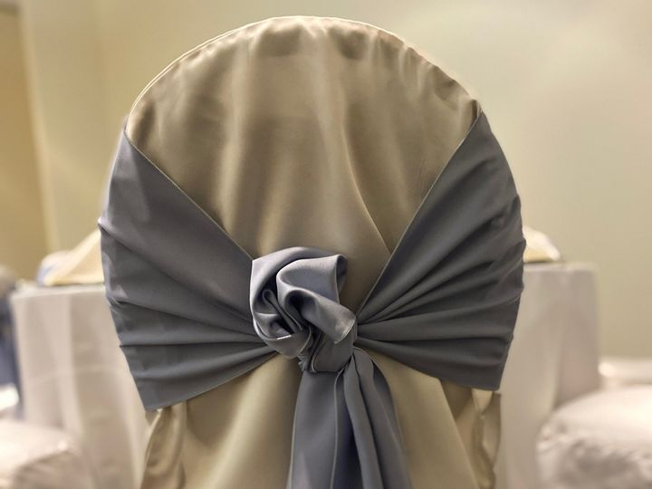 Tmx Chair Cover Desert Blue Satin Tie 51 413388 158533725164594 Orland Park, IL wedding venue