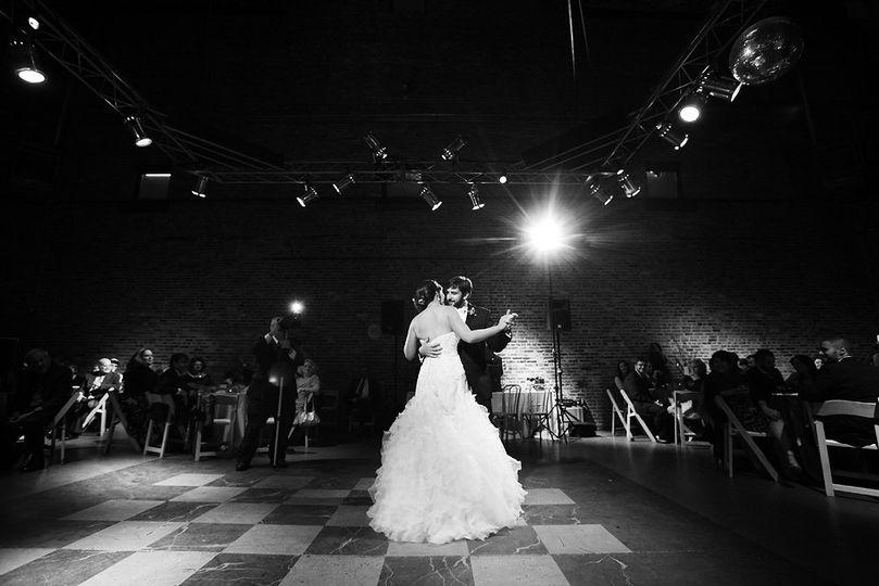 Black and white wedding dance