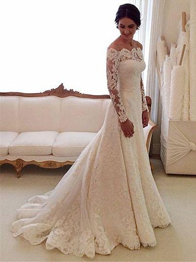 Online A-line Off-the-shoulder Lace Tulle Watteau Train Appliques Lace Long Sleeve Wedding Dress