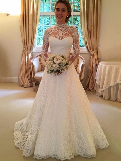 Fashion Open Back A-line High Neck Lace Sweep Train Sashes / Ribbons Long Sleeve Wedding Dresses