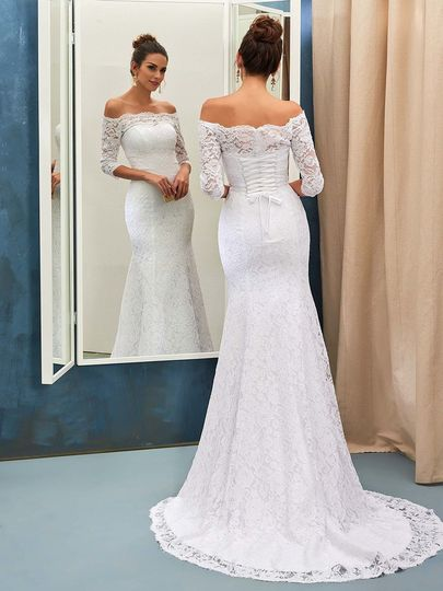 Trumpet/Mermaid Off-the-shoulder Lace Sweep Train Lace 3/4 Sleeve Top Wedding Dresses